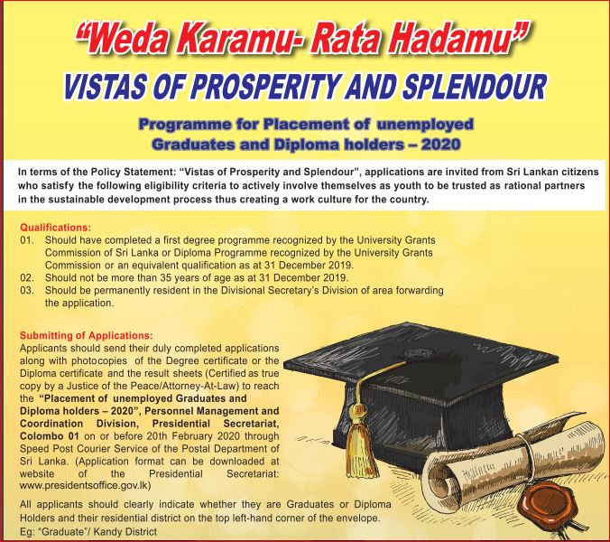 Jobs for unemployed graduates and diploma holders Sri Lanka
