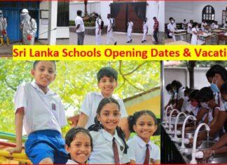 Sri Lanka Schools open vacation term dates announce
